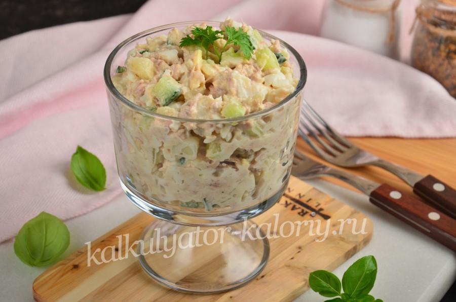 Салат с тунцом, картофелем и яйцом