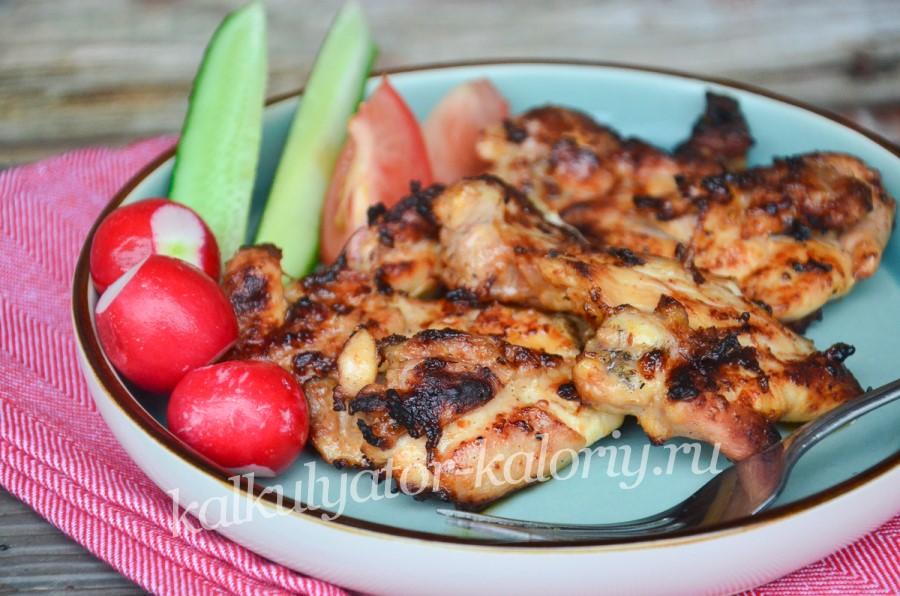 Куриный шашлык с горчицей и соевым соусом