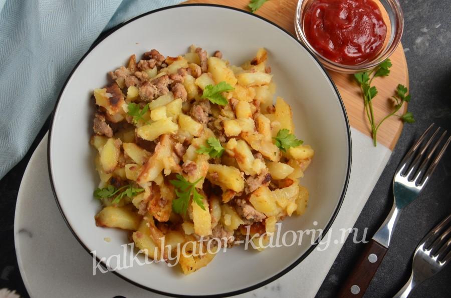 Картофель, жареный с фаршем