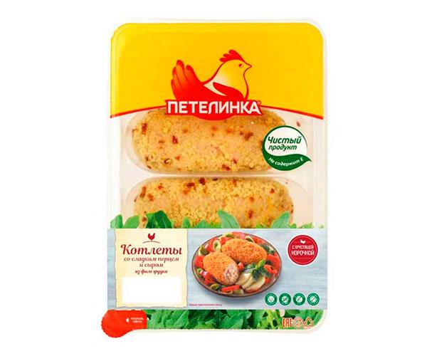 Котлеты По-петеленски со сладким перцем и сыром охлажденные «Петелинка»