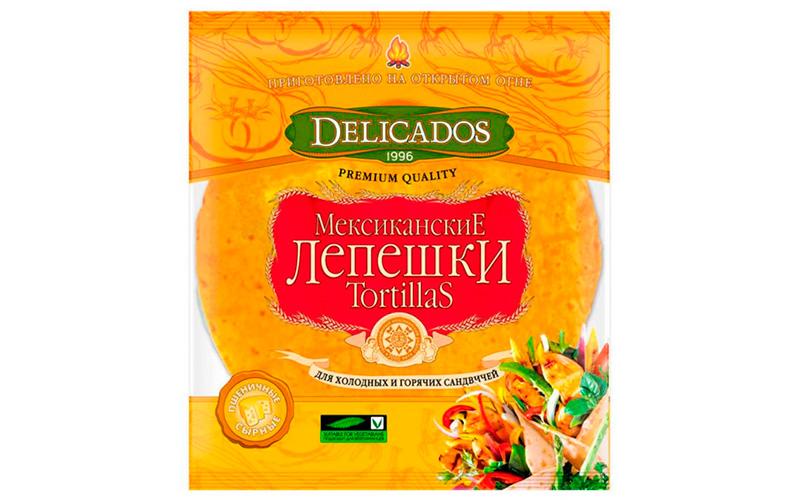 Лепешки Мексиканские Tortillas сырные пшеничные Delicados